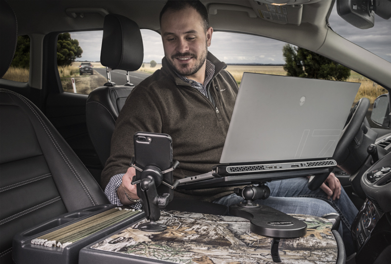 Man working with car accessories